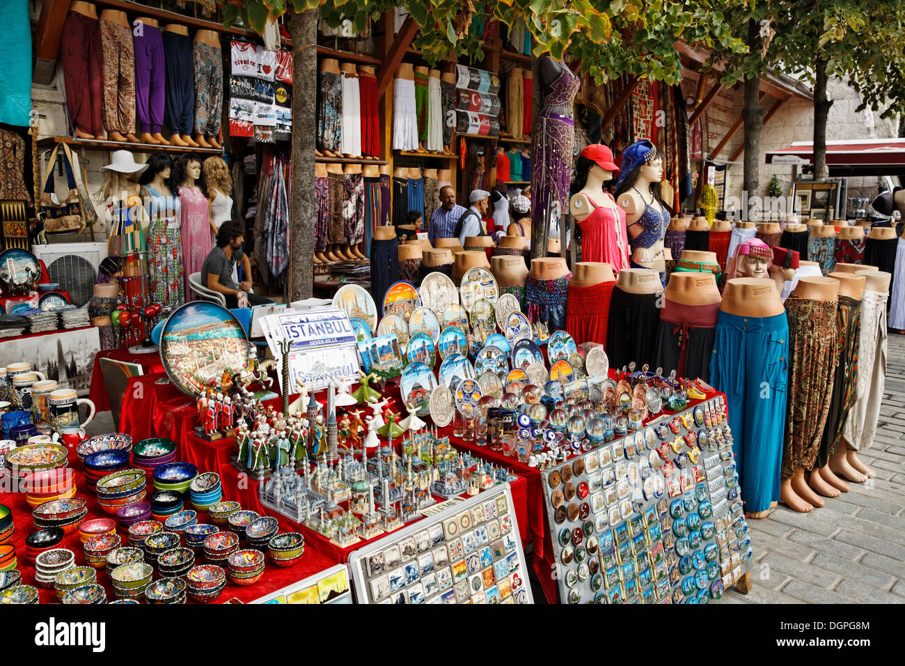 Souvenir stalls in the street, Sultanahmet historic district, Istanbul, Turkey, Europe, PublicGround - Stock Image