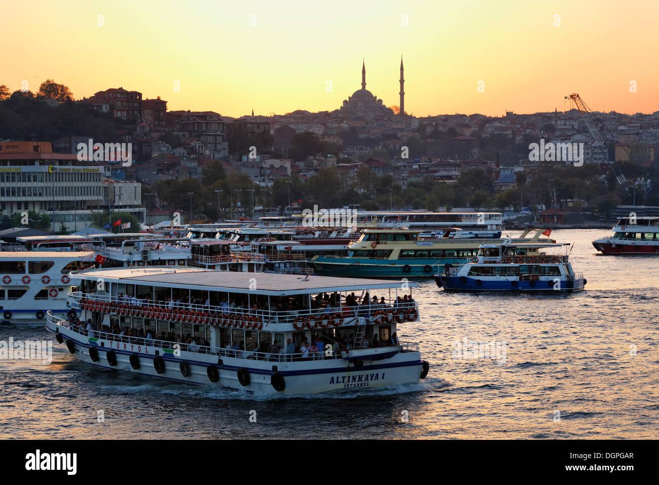 Fatih Mosque, Eminönü ferry port, Golden Horn, Istanbul, european side, Turkey, Europe, PublicGround - Stock Image