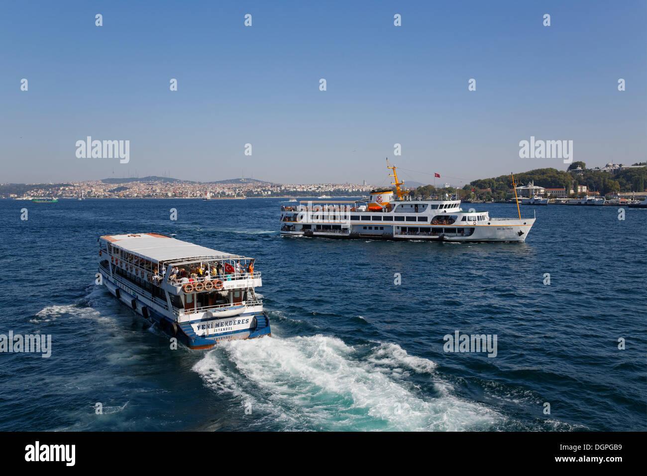 Ferries, Bosphorus, Istanbul, Turkey, Europe, looking towards Asia, PublicGround - Stock Image