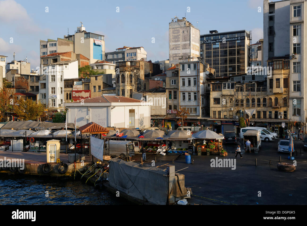 Decrepit houses and a market in Karakoey, Golden Horn, Istanbul, european side, Turkey, Europe, PublicGround - Stock Image