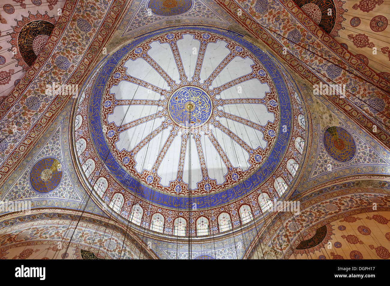 Interior view, main dome, Blue Mosque, Sultan Ahmed Mosque or Sultanahmet Camii, Istanbul, European side, Istanbul Stock Photo