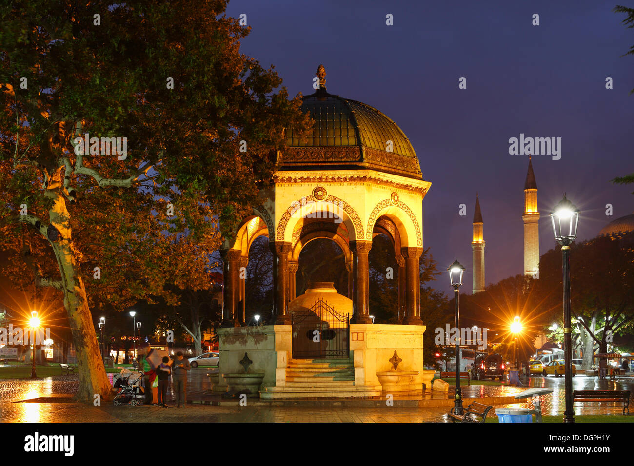 German Fountain in the Hippodrome or At Meydani square, right Hagia Sophia, Istanbul, European side, Istanbul Province, Turkey - Stock Image