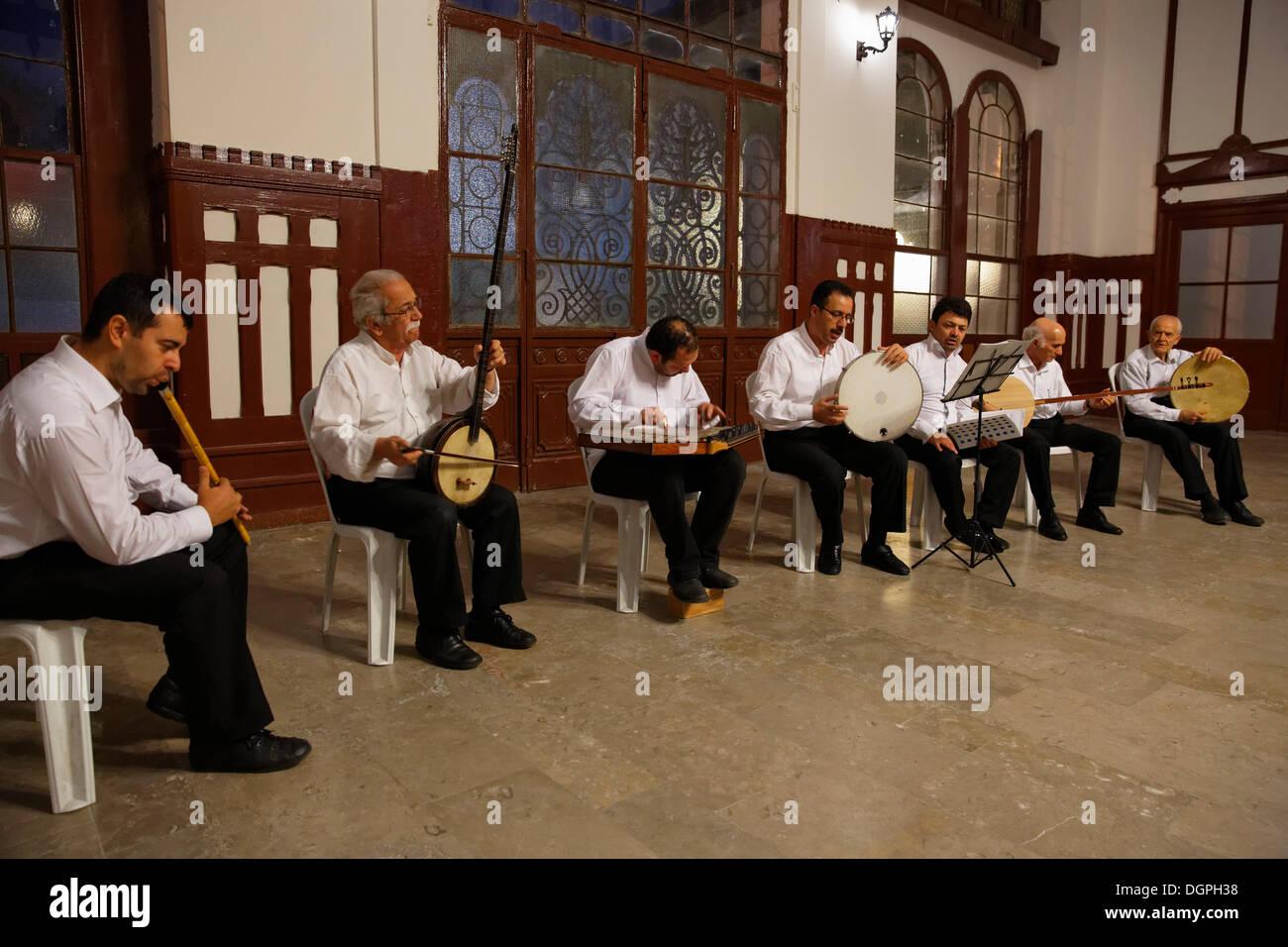 Sufi music concert in Sirkeci Railway Station, Istanbul, Turkey, Europe, Istanbul, Istanbul Province, Turkey - Stock Image