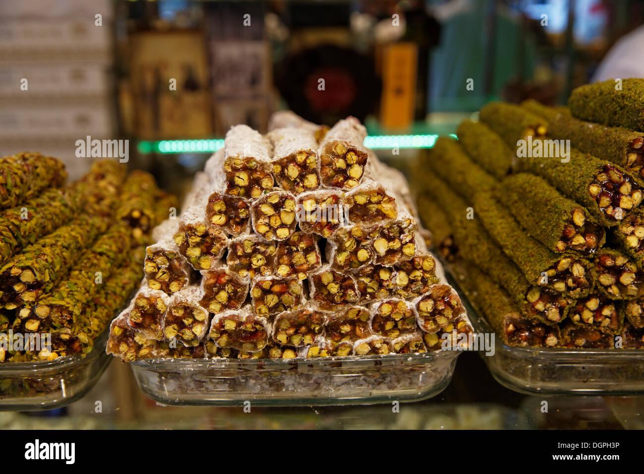Turkish delight, halva, Hafiz Mustafa store, Istanbul, Turkey, Europe, Istanbul, Istanbul Province, Turkey Stock Photo