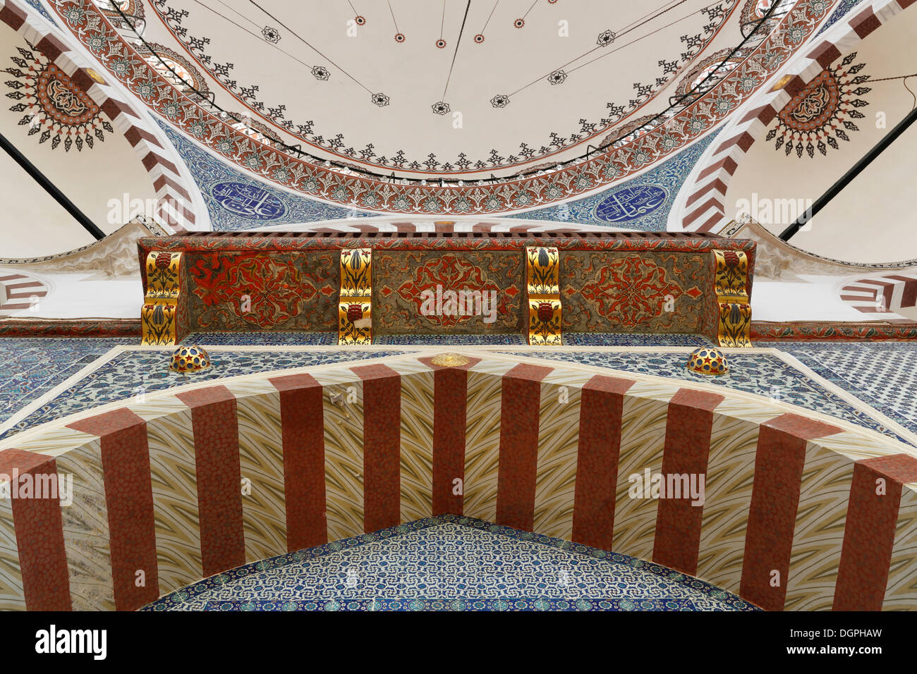 Ruestem Pasha Mosque, entrance seen from below, Istanbul, Turkey, Europe, Istanbul, Istanbul Province, Turkey - Stock Image