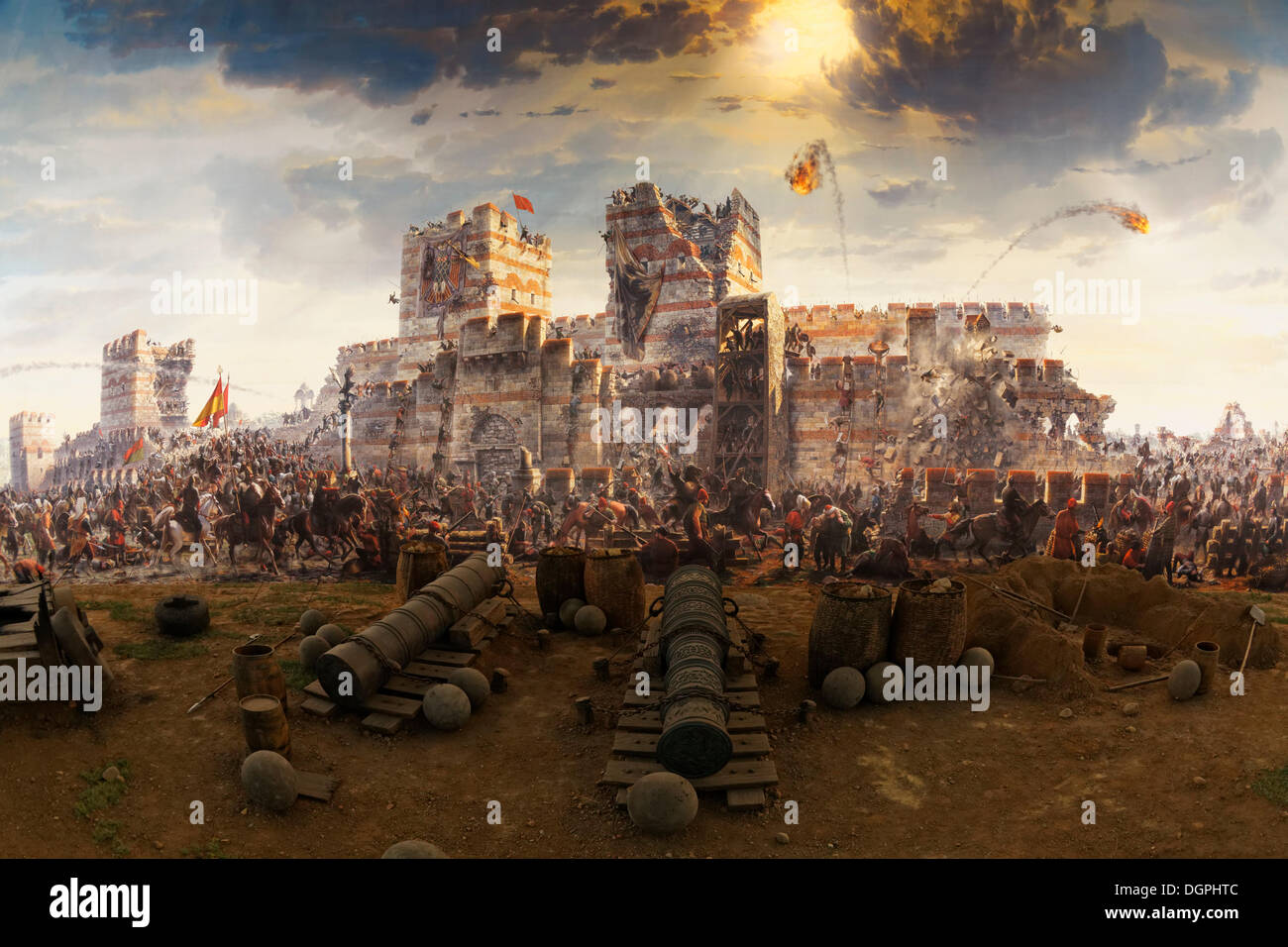 Painting of the conquest of Constantinople in 1453 by the Ottomans under  Sultan Fatih Sultan Mehmed, Museum Panorama 1453 in