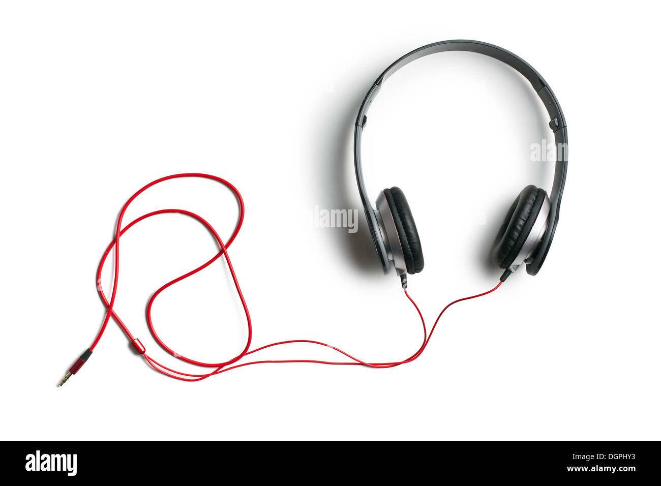 top view of headphones on white background - Stock Image