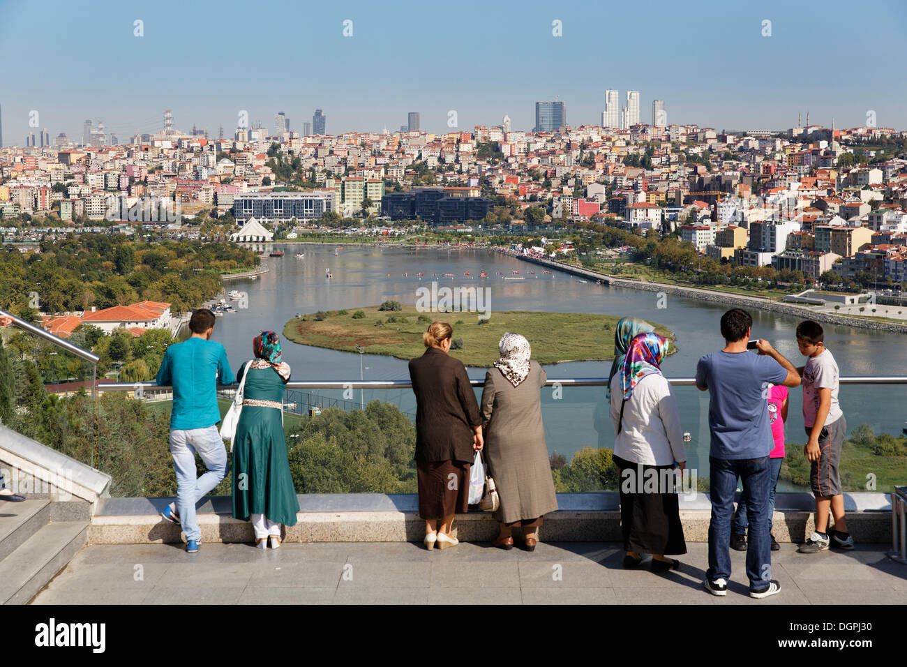 View from Pierre Loti Hill across the Golden Horn to Sisli, Pierre-Loti-Hügel, Eyüp, Istanbul, Istanbul Province, Turkey - Stock Image