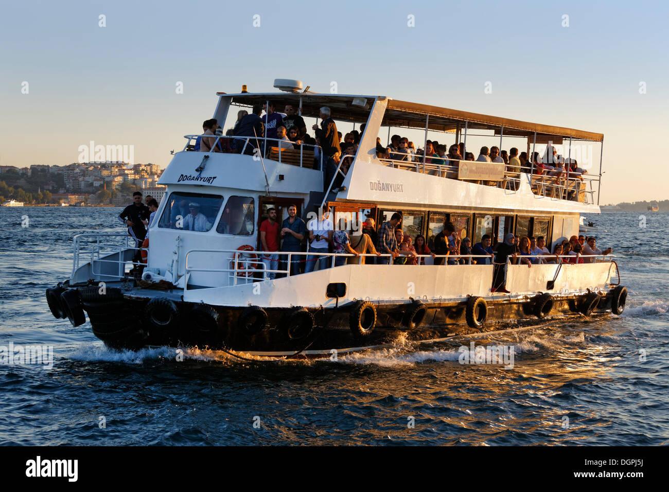 Passenger ship on the Bosphorus, view from Ortaköy, Bosporus, Ortaköy, Besiktas, Istanbul, Istanbul Province, Turkey - Stock Image