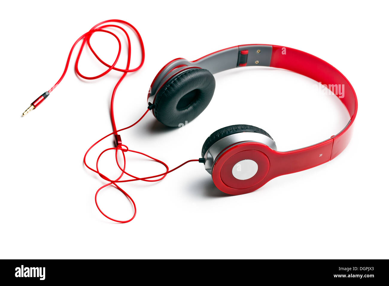 red headphones on white background - Stock Image