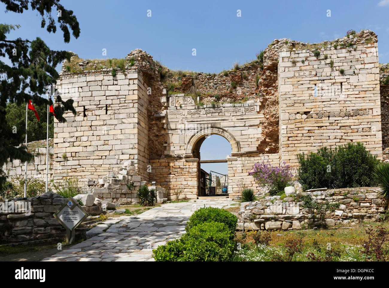 Gate of Persecution of the Basilica of St. John of Ephesus, Ephesus, Selçuk, İzmir Province, Aegean Region, Turkey - Stock Image