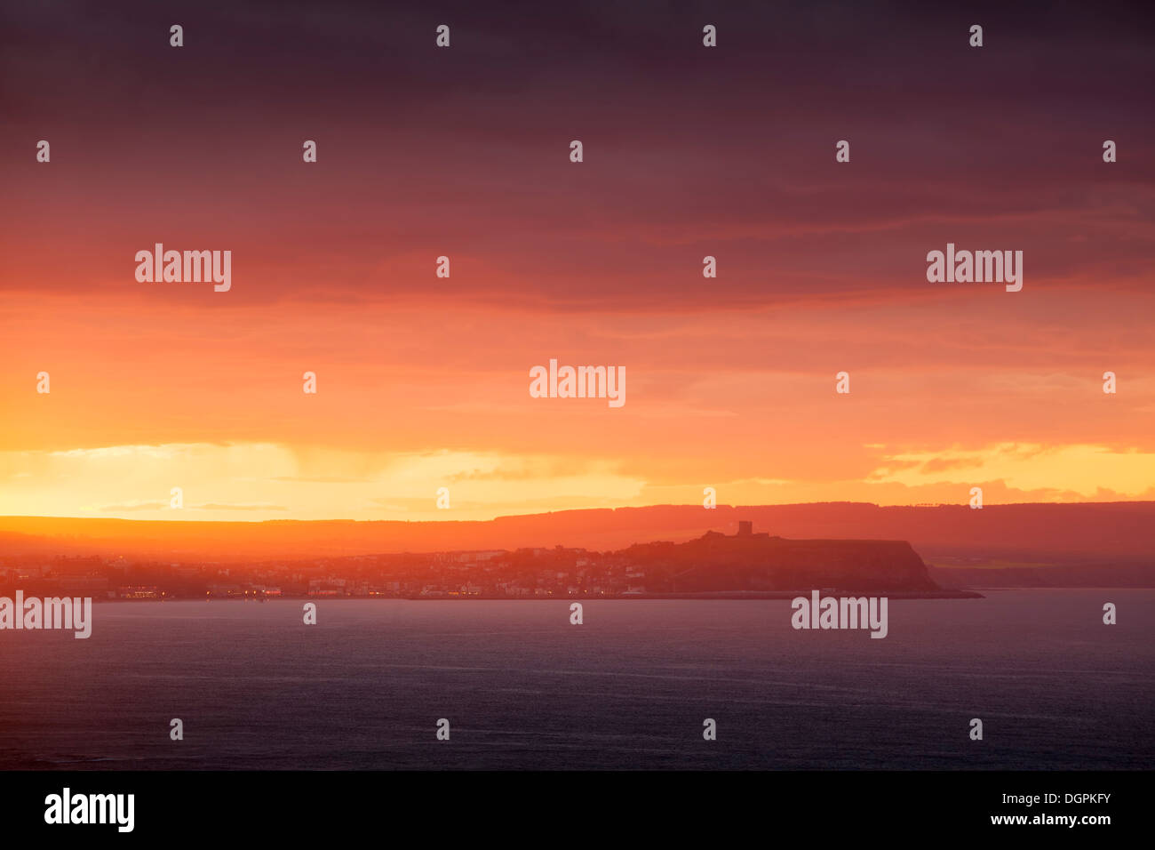 Sunset over Scarborough, North Yorkshire. - Stock Image