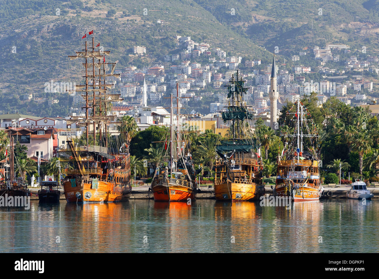 Excursion boats in the harbour, Alanya, Turkish Riviera, Province of Antalya, Mediterranean Region, Turkey - Stock Image