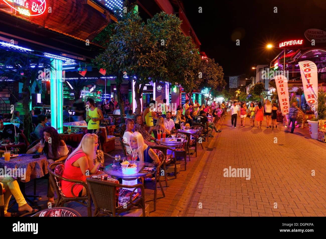 Bars in the town centre at night, Alanya, Turkish Riviera, Province of Antalya, Mediterranean Region, Turkey - Stock Image