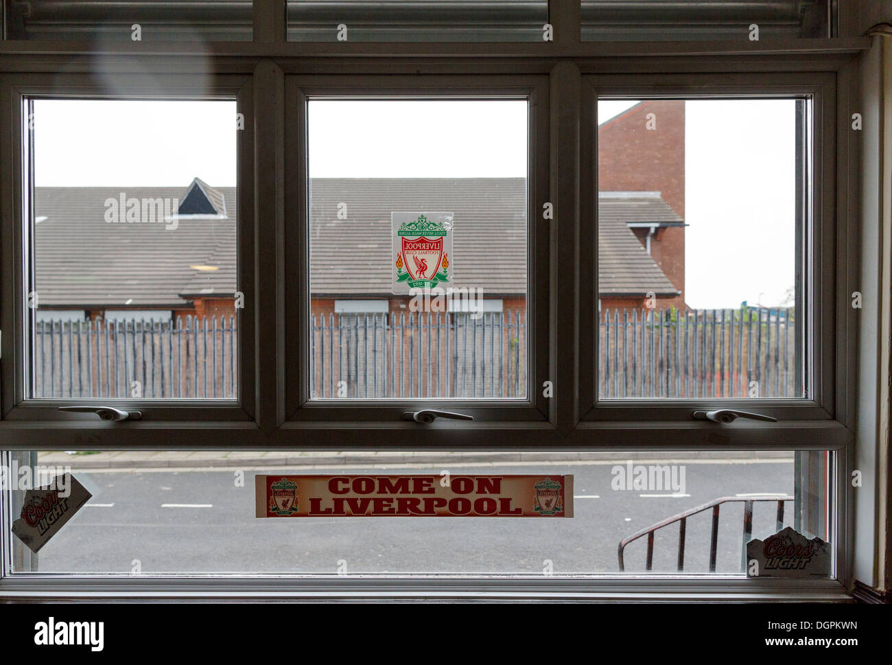 View through a window of The Park pub, Anfield, Liverpool, UK - Stock Image