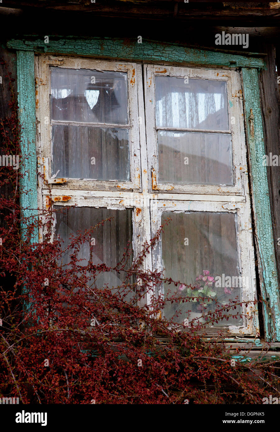 Weathered window on an old unoccupied farmhouse in Gruenefeld, Havelland region, Brandenburg - Stock Image