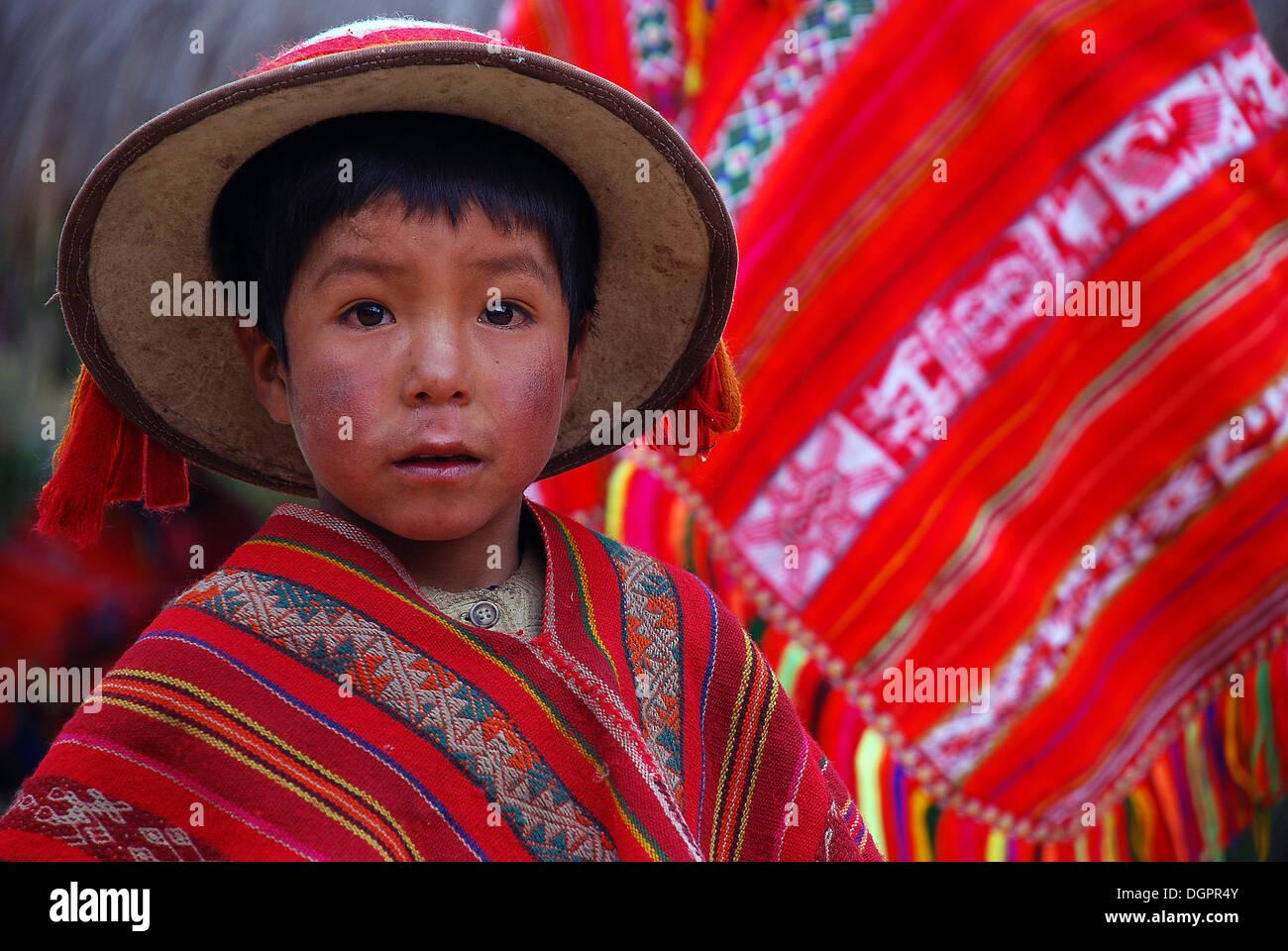Little Indian boy wearing colourful festive costume near Cusco or Cuzco Peru South America  sc 1 st  Alamy & Little Indian boy wearing colourful festive costume near Cusco or ...