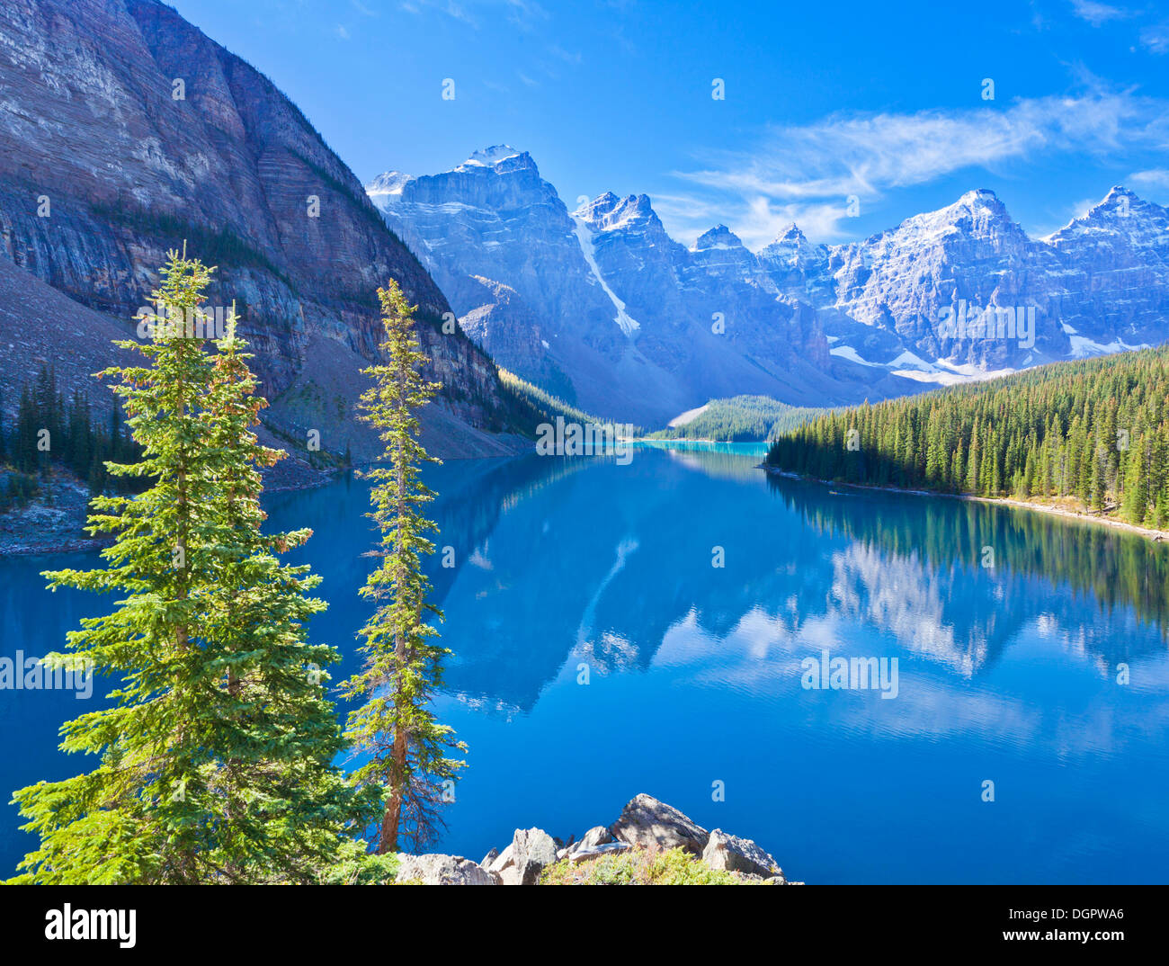 Moraine lake in the Valley of the Ten Peaks Banff national park Canadian Rockies Alberta Canada - Stock Image