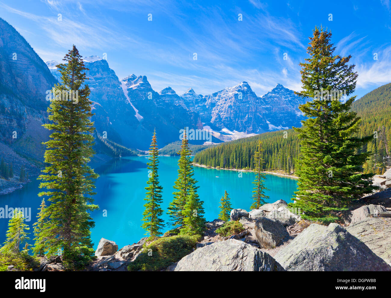 Moraine lake in the Valley of the Ten Peaks Banff national park Alberta Canada - Stock Image