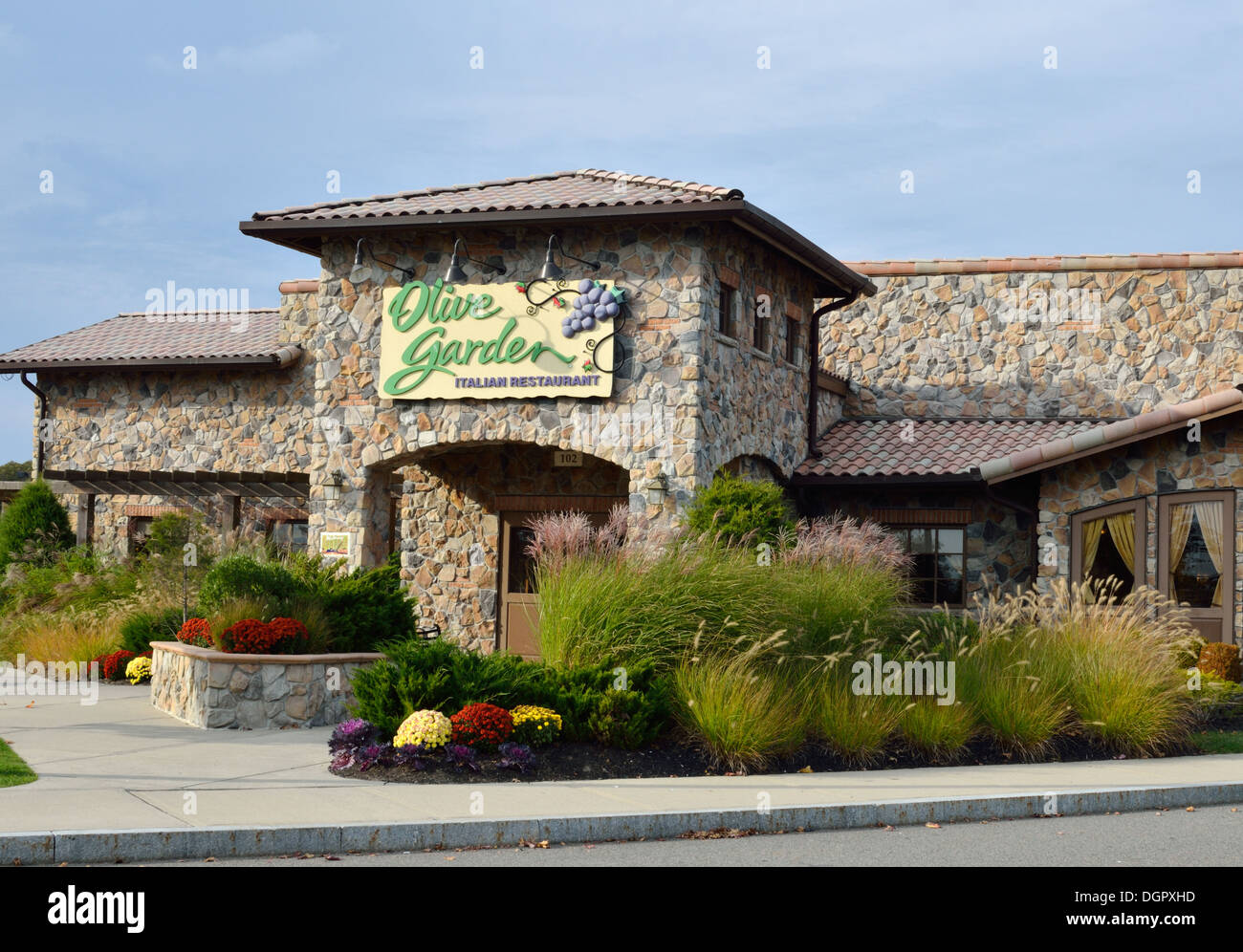 Exceptional Exterior Entrance Of Olive Garden Restaurant With Sign. USA   Stock Image