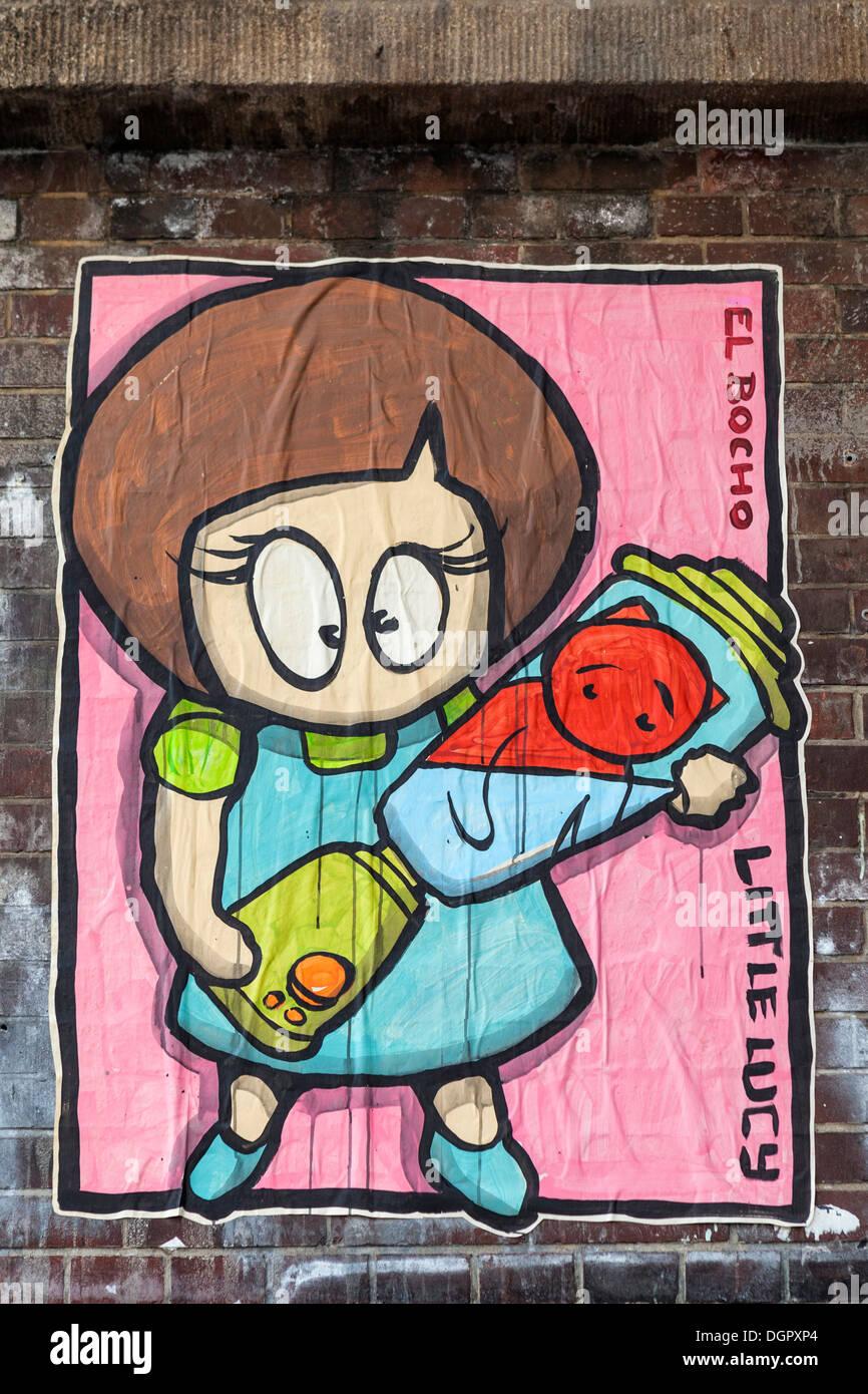 Street art In Berlin - El Bocho urban paper art - Little Lucy cat killing series - Stock Image