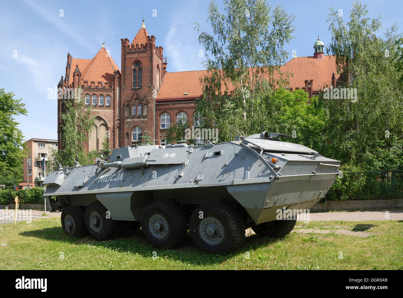 Armored vehicle of the militia in the Exhibition about the struggle of the Polish trade union Solidarnosc 'Roads to Freedom'. - Stock Image