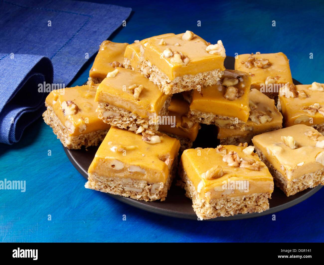 Pumpkin butterscotch bars Stock Photo