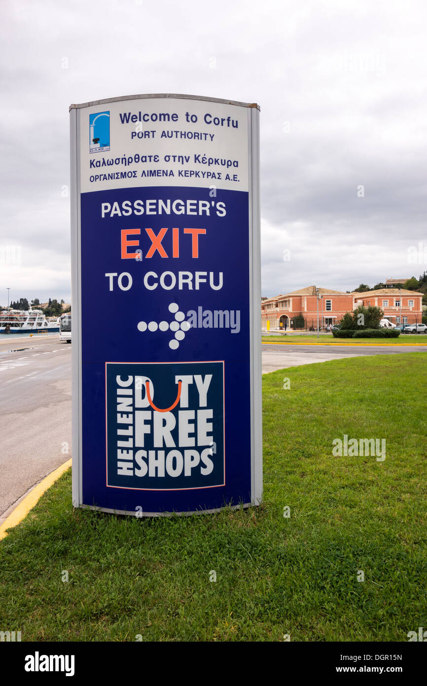 Sign Exit to Corfu and Duty Free Shops, Old Town, Corfu Island, Ionian Islands, Greek Islands, Greece, Europe. Welcome to Corfu. - Stock Image