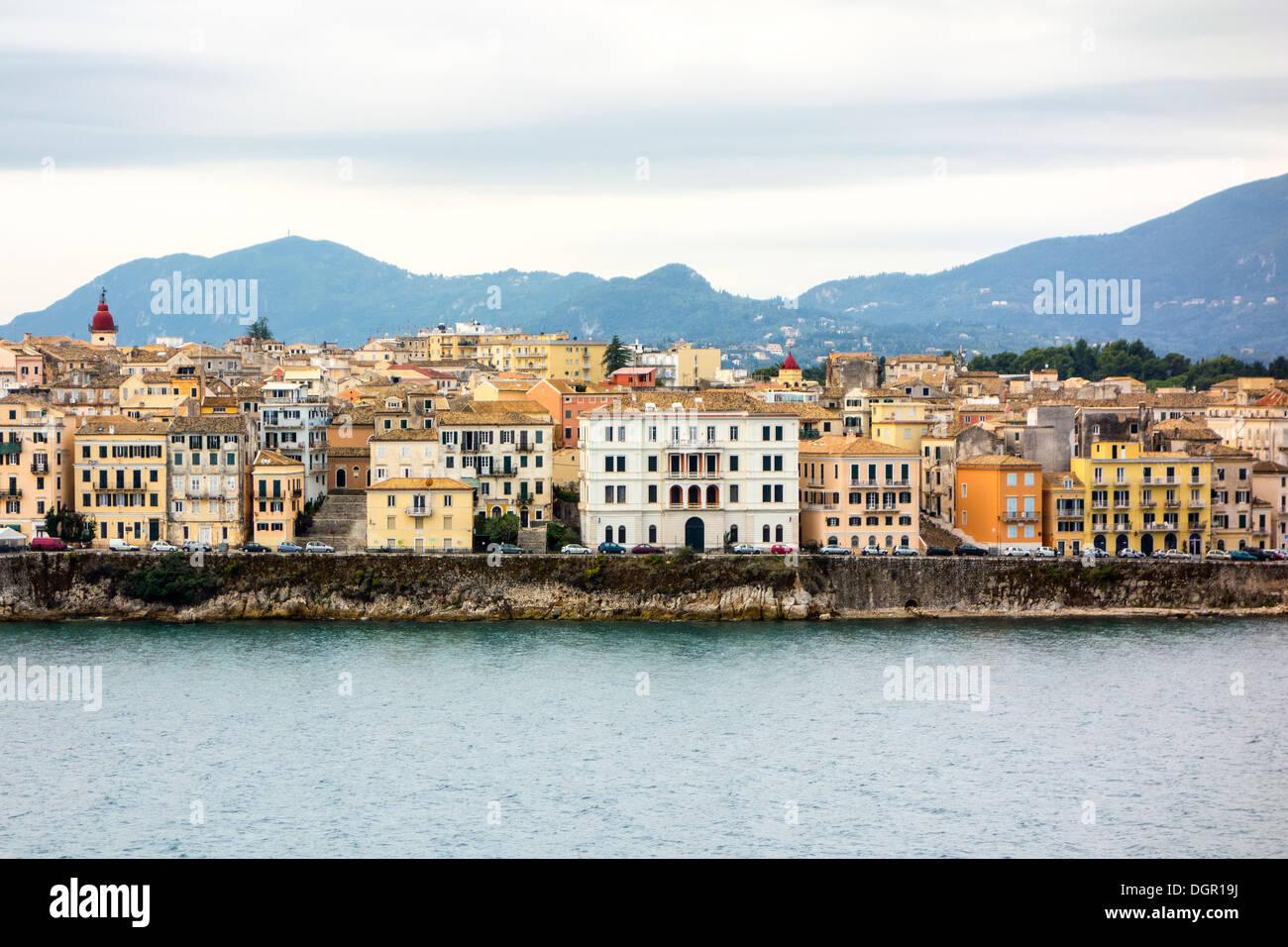 Bay of Corfu - Old Town, Corfu Island, Ionian Islands, Greek Islands, Greece, Europe - Stock Image