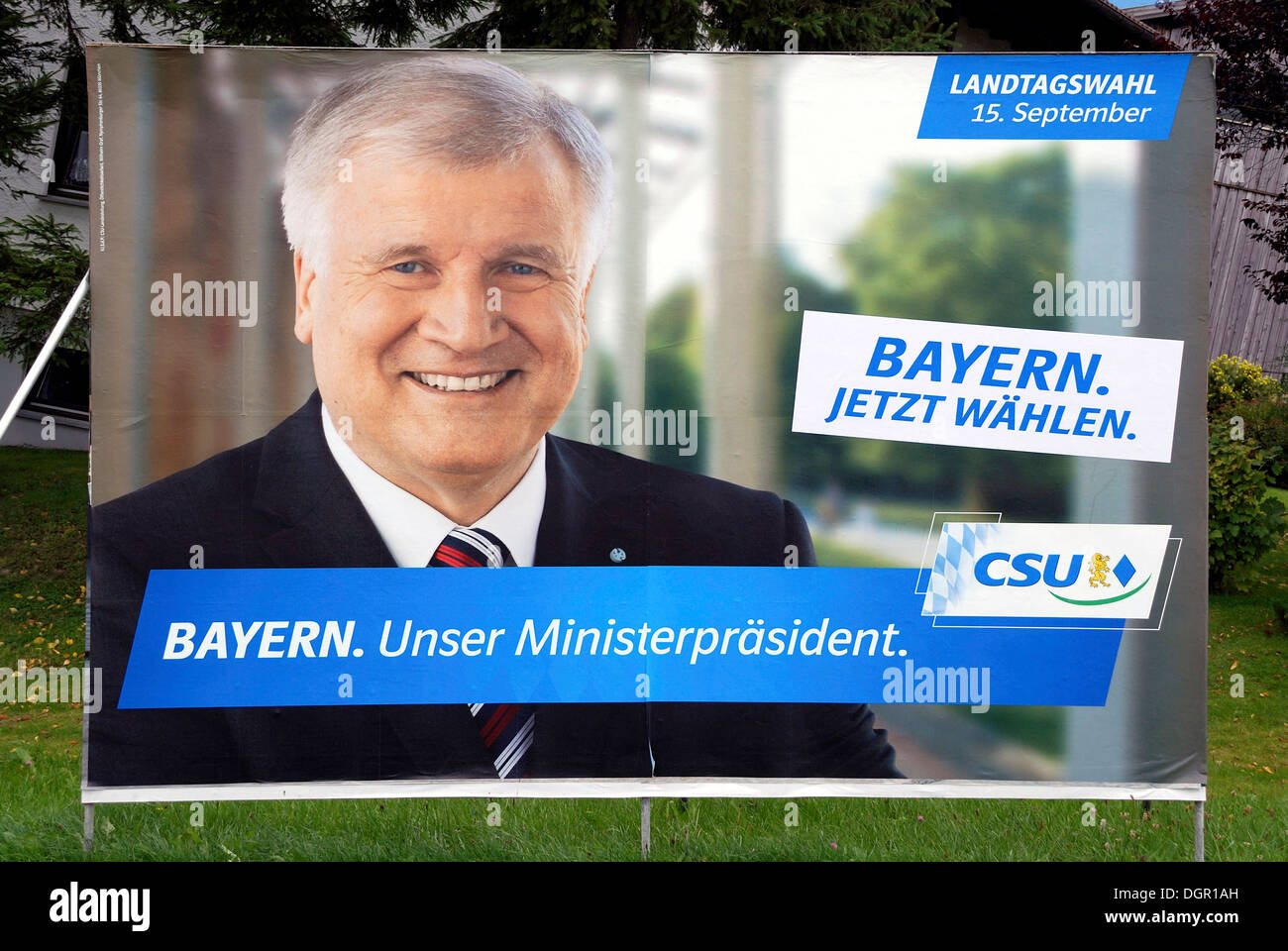 Poster advertising the CSU for the Bavarian Prime Minister Horst Seehofer for state elections in Bavaria on 15.09.2013. - Stock Image
