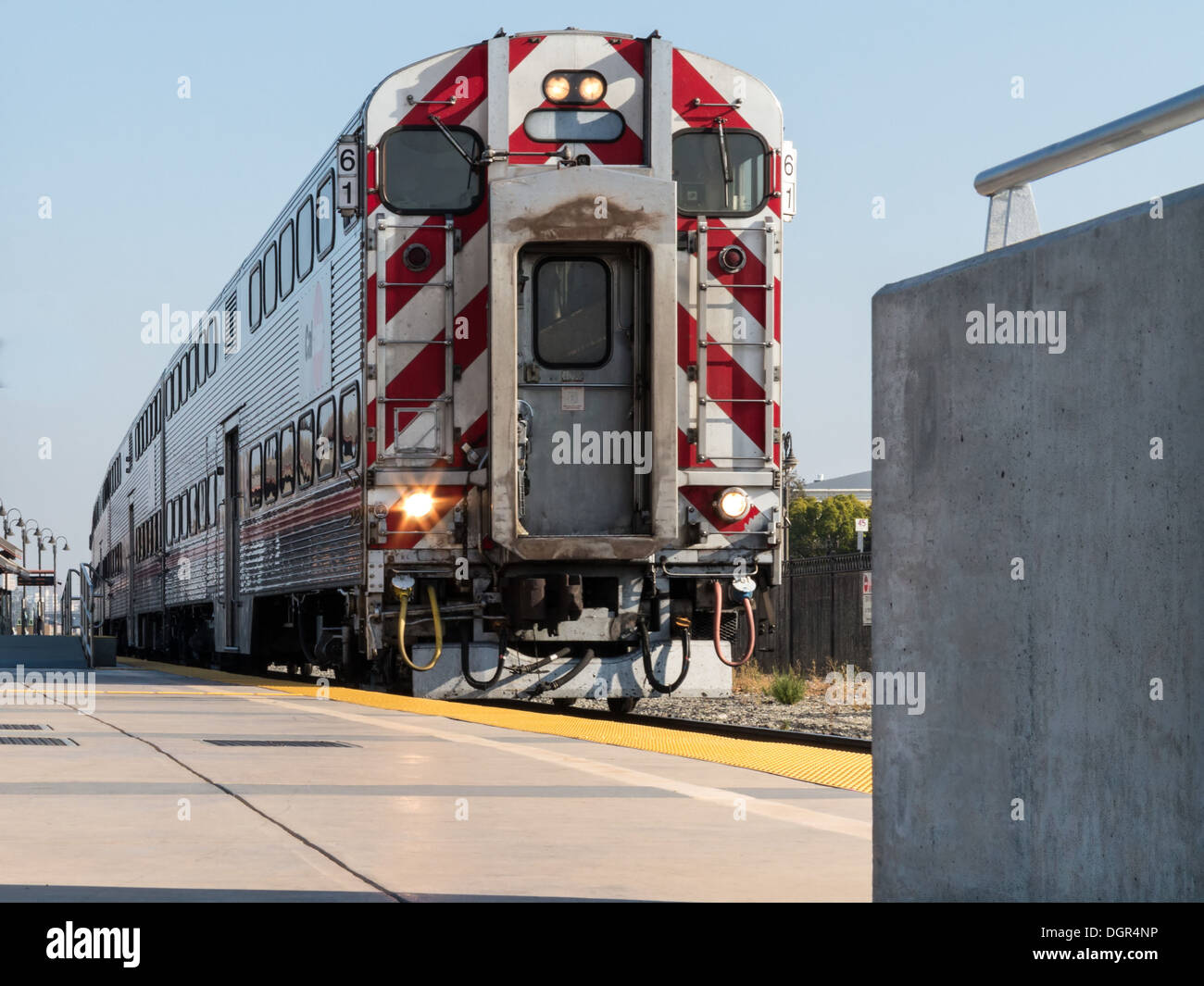Double deck commuter train at the platform in California - Stock Image
