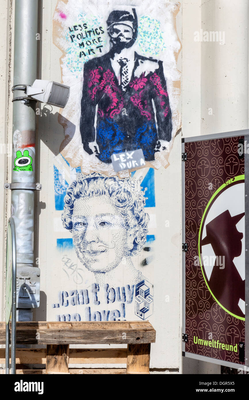 Street art in berlin queen elizabeth ll cant buy me love and less politics more art stencil