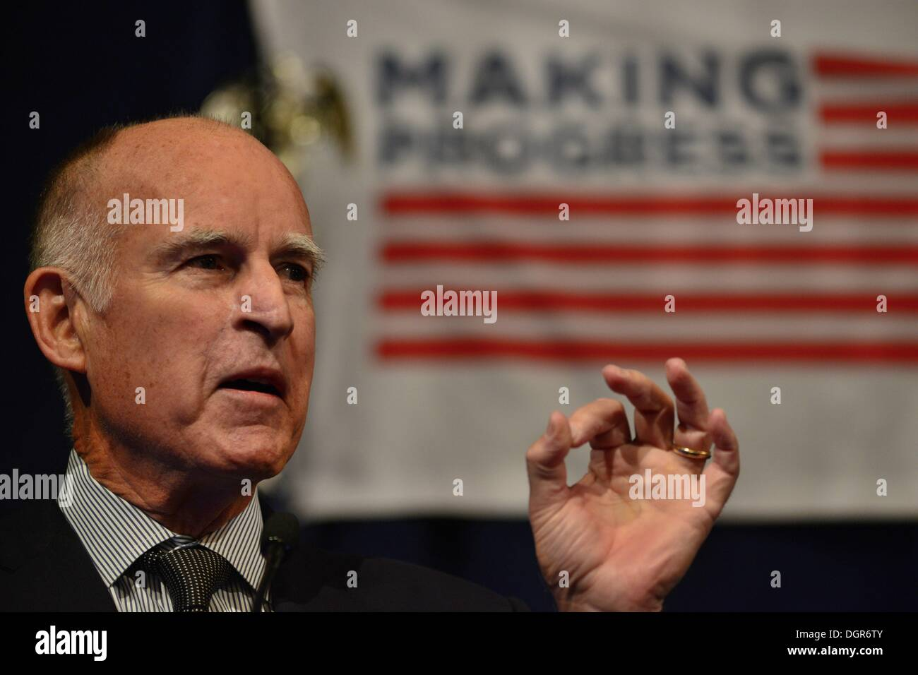 Washington, District of Columbia, US, USA. 24th Oct, 2013. California Governor JERRY BROWN speaks at the Center for American Progress, an independent think tank celebrating its 10th anniversary with a policy conference. Brown spoke about governance in California, and how the state has tried to move past its infamous political dysfunction. © Miguel Juarez Lugo/ZUMAPRESS.com/Alamy Live News - Stock Image