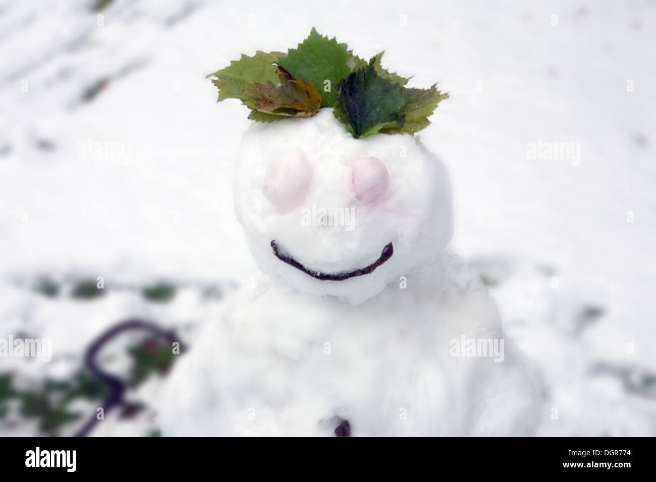 Schneemann Winter, weiss - Stock Image