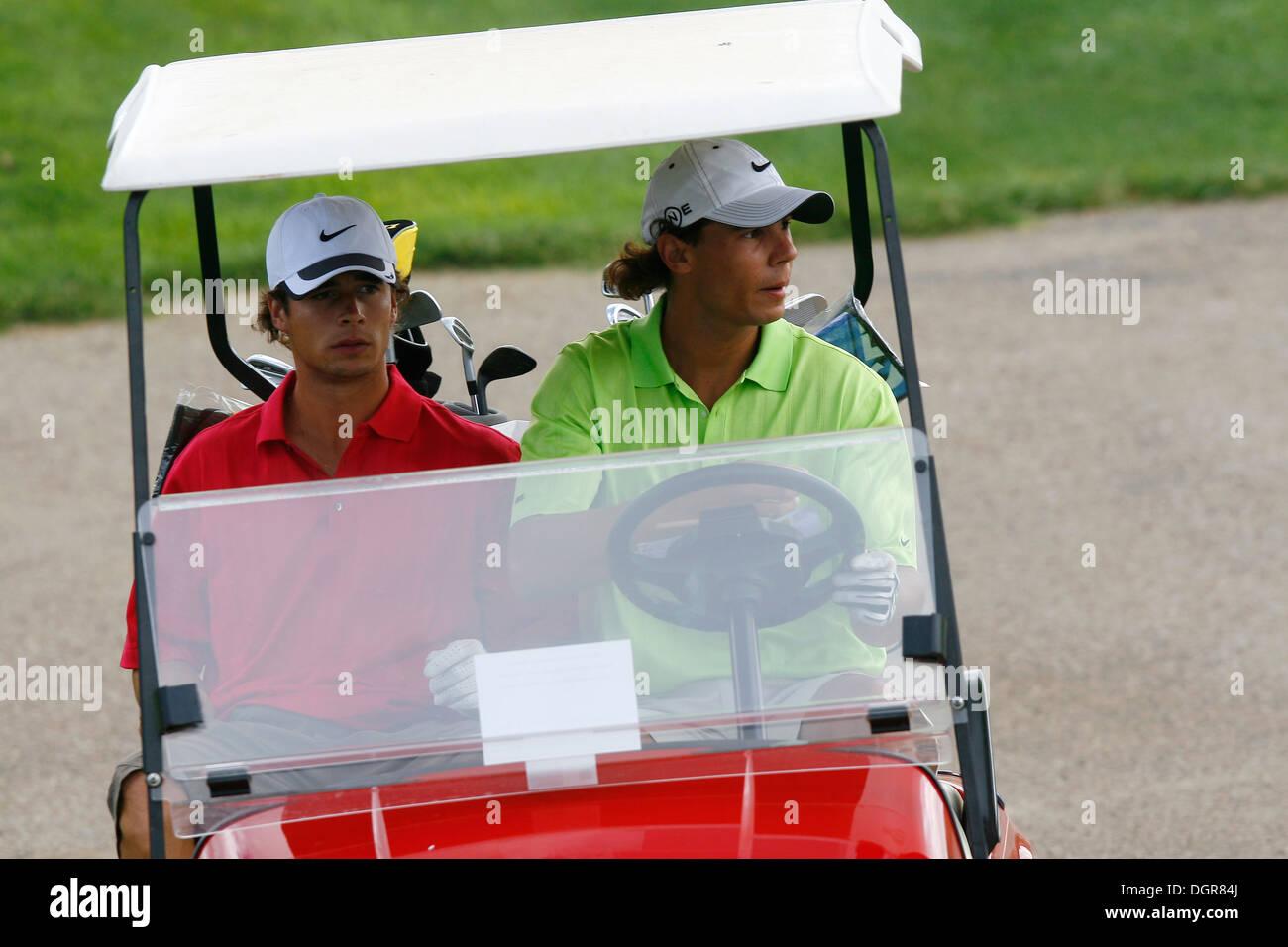 Spain S Tennis Player Rafael Nadal Seen During A Golf Trainig Session Stock Photo 61976898 Alamy