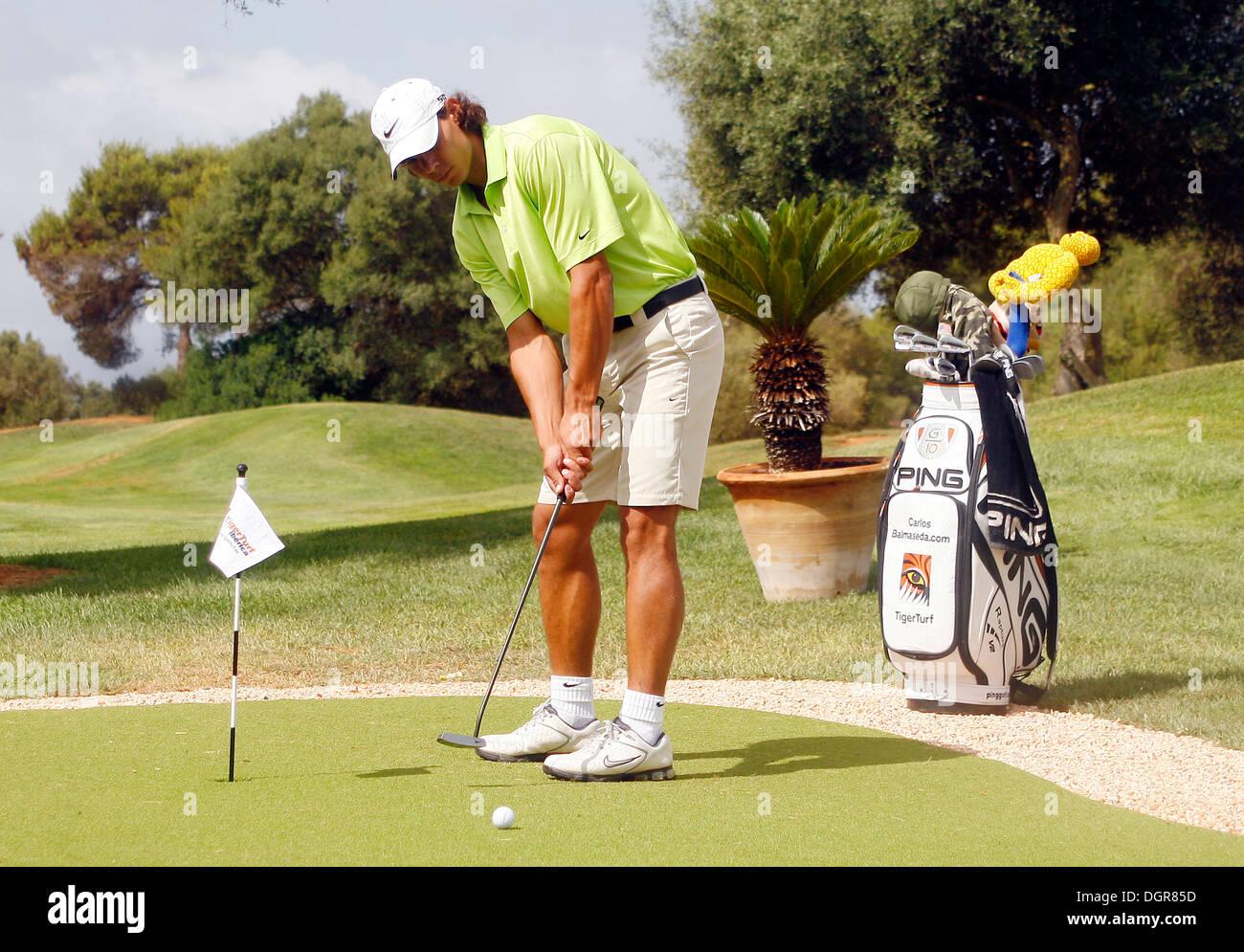 Spain S Tennis Player Rafael Nadal Seen During A Golf Trainig Session Stock Photo Alamy