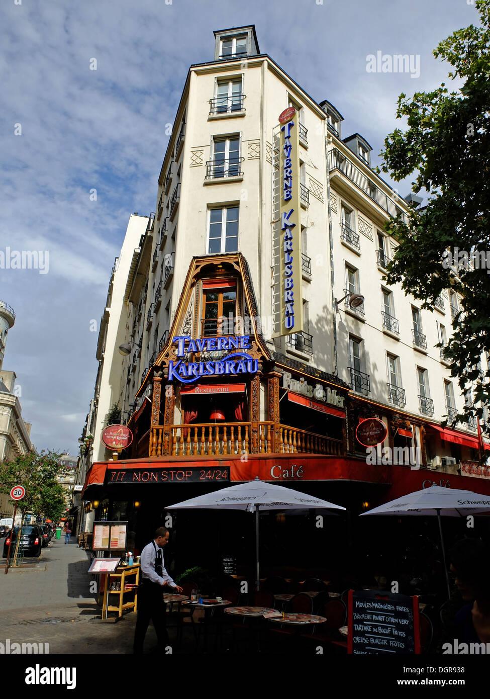 Famous restaurant Taverne Karlsbrau,les Halles,in old Paris,France - Stock Image