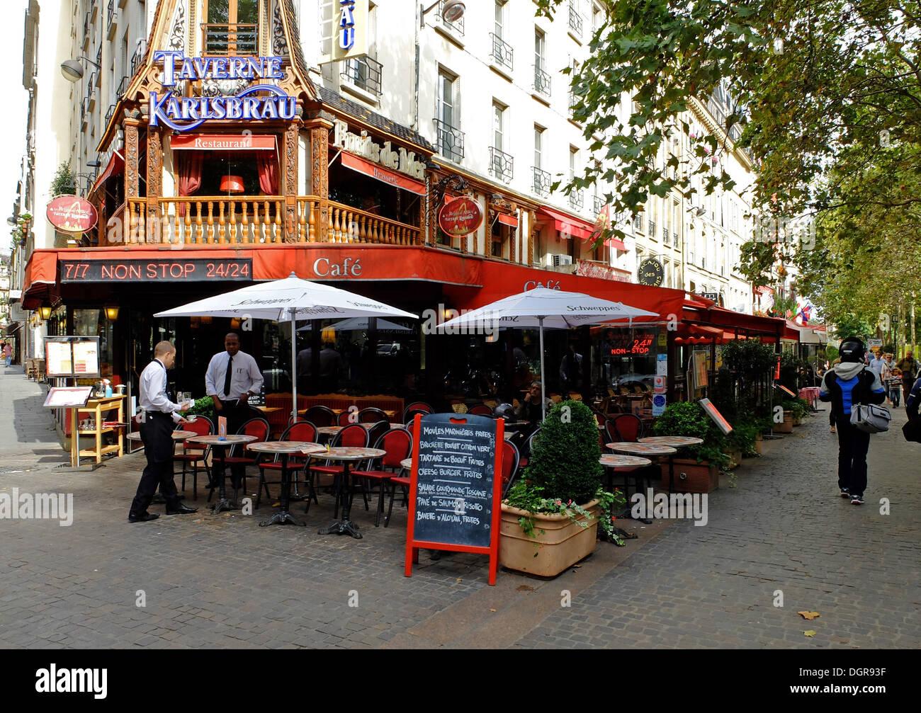 Famous restaurant Taverne Karlsbrau,les Halles,in old Paris,France Stock Photo