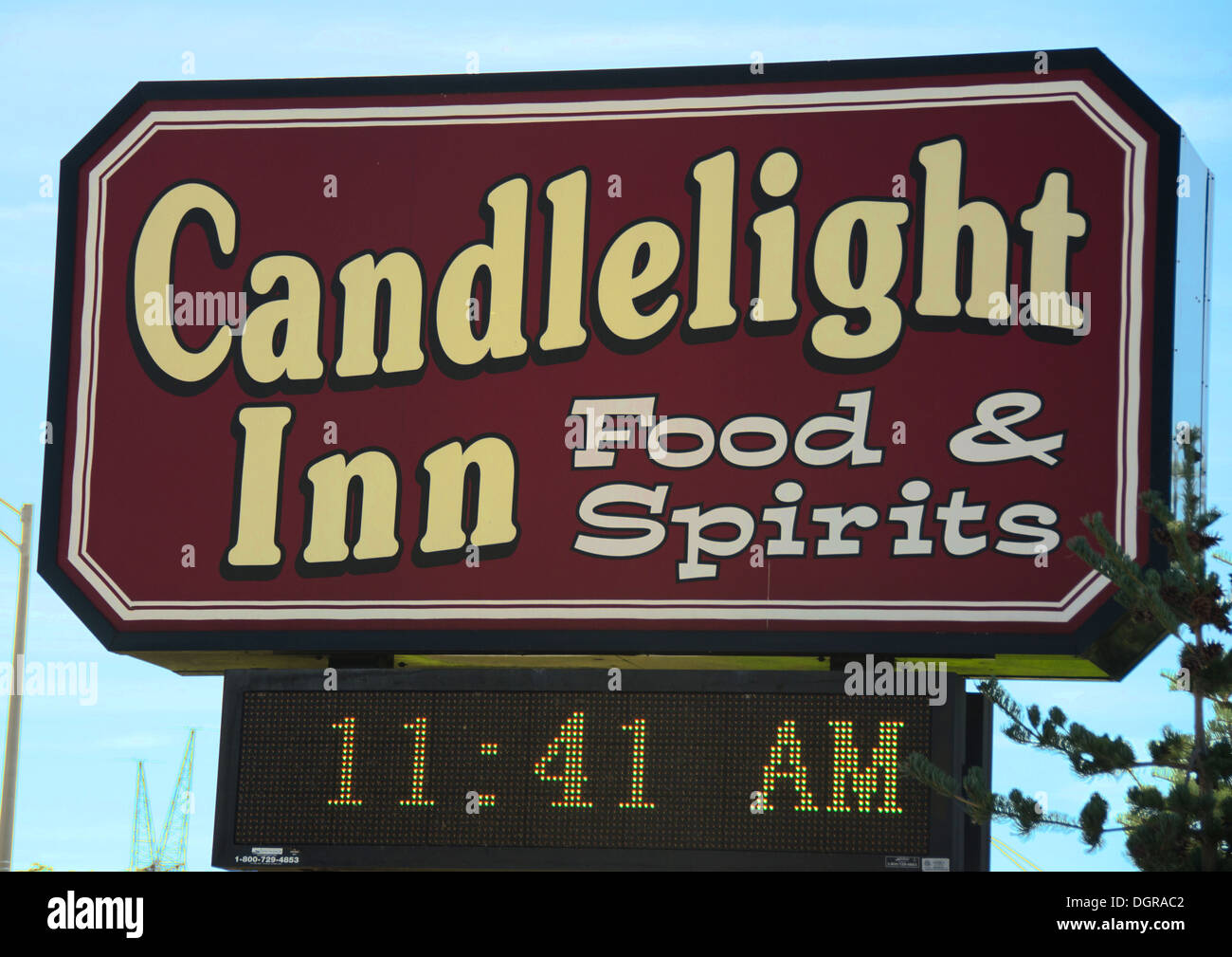 Sign for the Candlelight Inn which is a popular restaurant in Rock Falls, Illinois, a town along the Lincoln Highway. - Stock Image