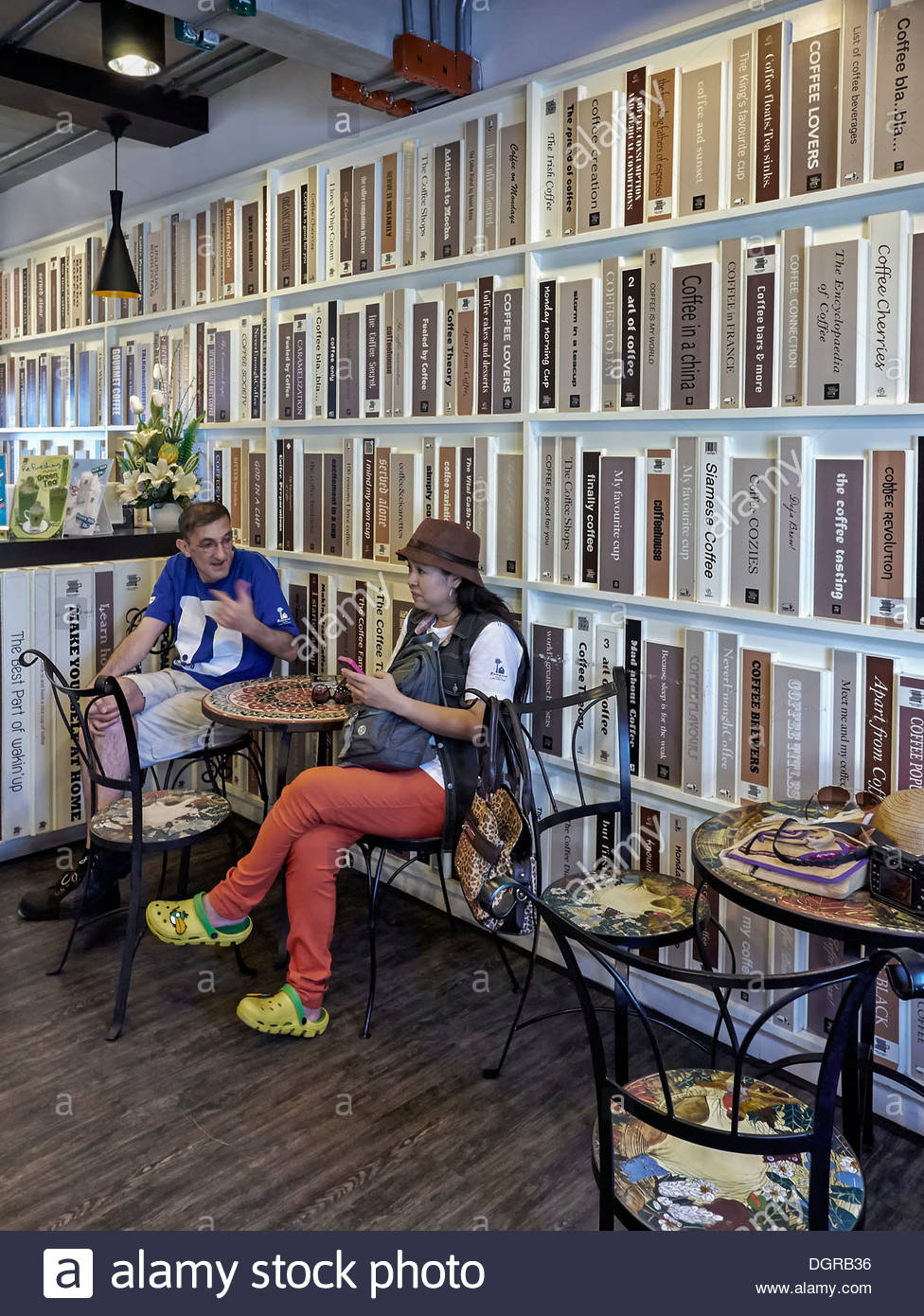 modern bistro styled coffee shop designed in book shop style with rh alamy com