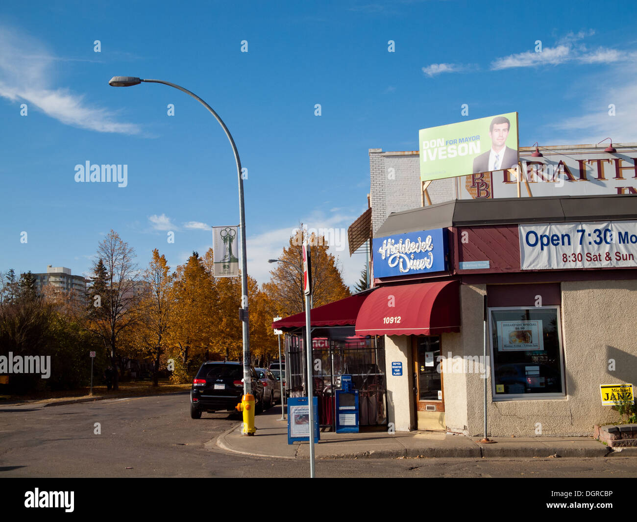 The popular Highlevel Diner in the Garneau district of Edmonton, Alberta, Canada. - Stock Image