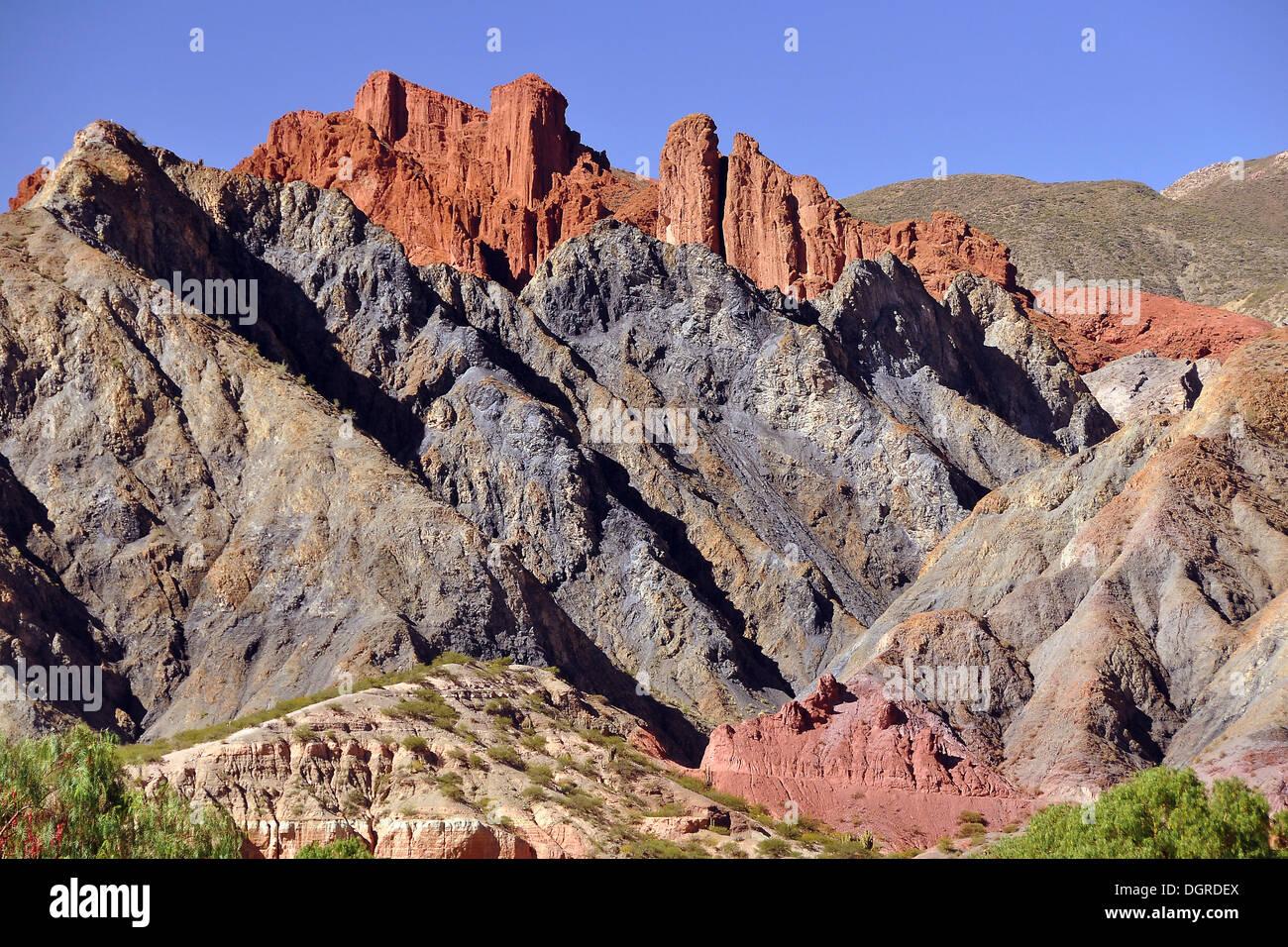 Colorful rock landscape of the Altiplano, Tupiza, Departamento Potosi, Bolivia, South America - Stock Image