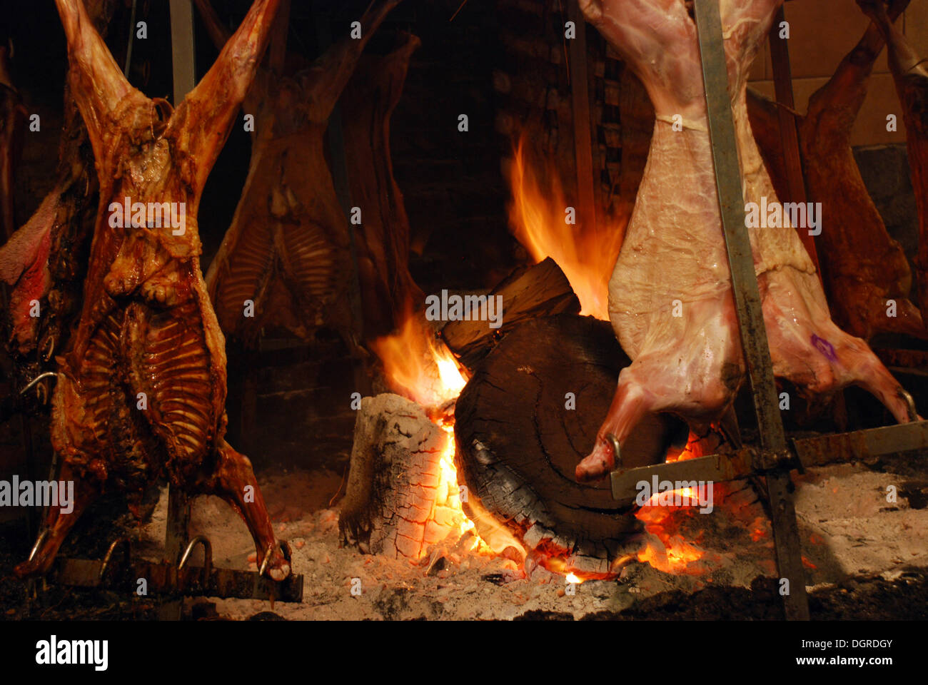 meat roasting over an open fire typical argentinean preparation of