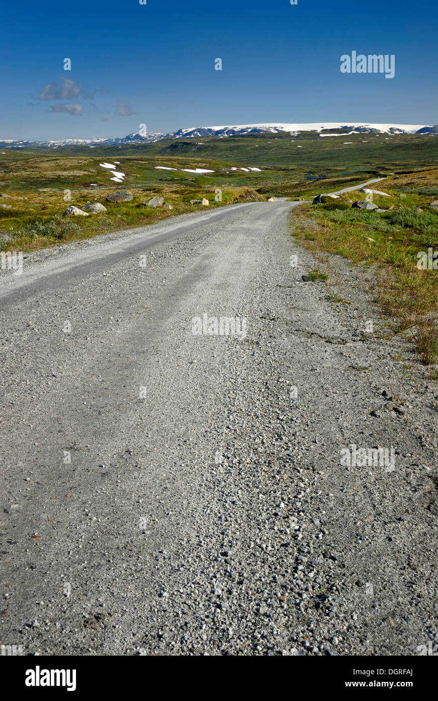 Gravel road on Hardangervidda, Fylke Hordaland, Plateaufjell and Europe's largest high plateau, Norway, Europe Stock Photo