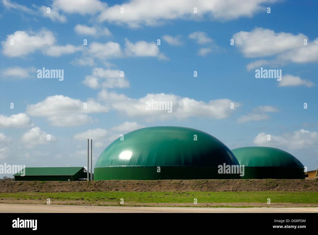 Agricultural biogas plant, biomass power plant with cogeneration unit, CHP, for electricity and heat production - Stock Image