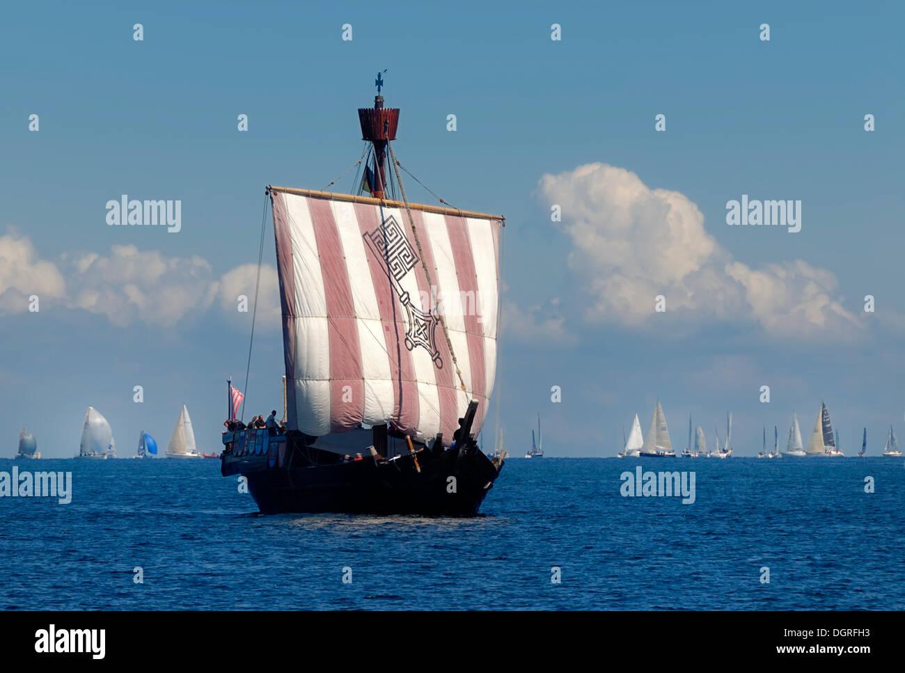 Hanse Kogge, Ubena von Bremen, replica of the Bremen cog ship, Kiel Week 2010, Kiel Fjord, Schleswig-Holstein - Stock Image
