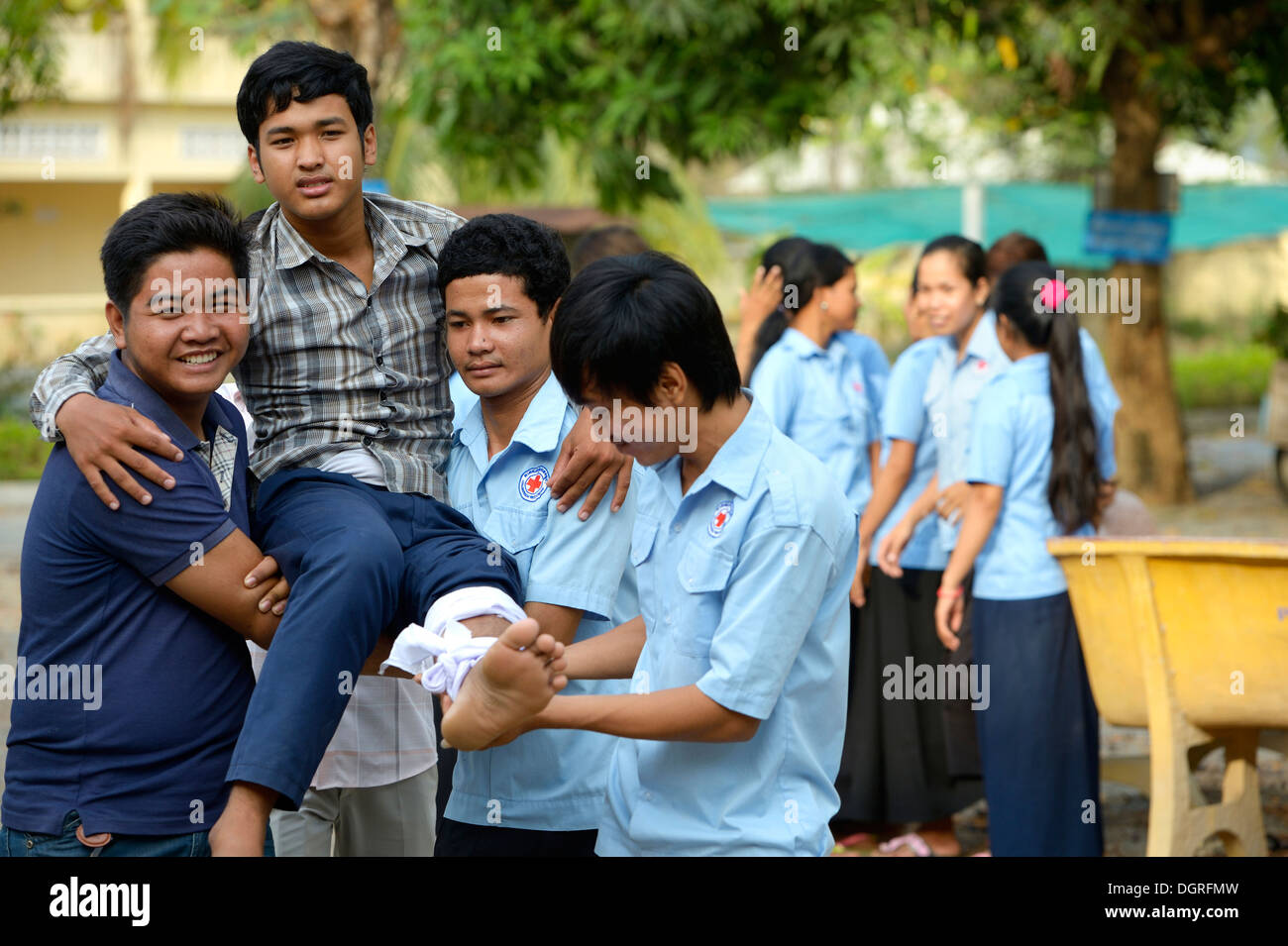 Cambodia, Takeo Province, Young people at first aid training - Stock Image