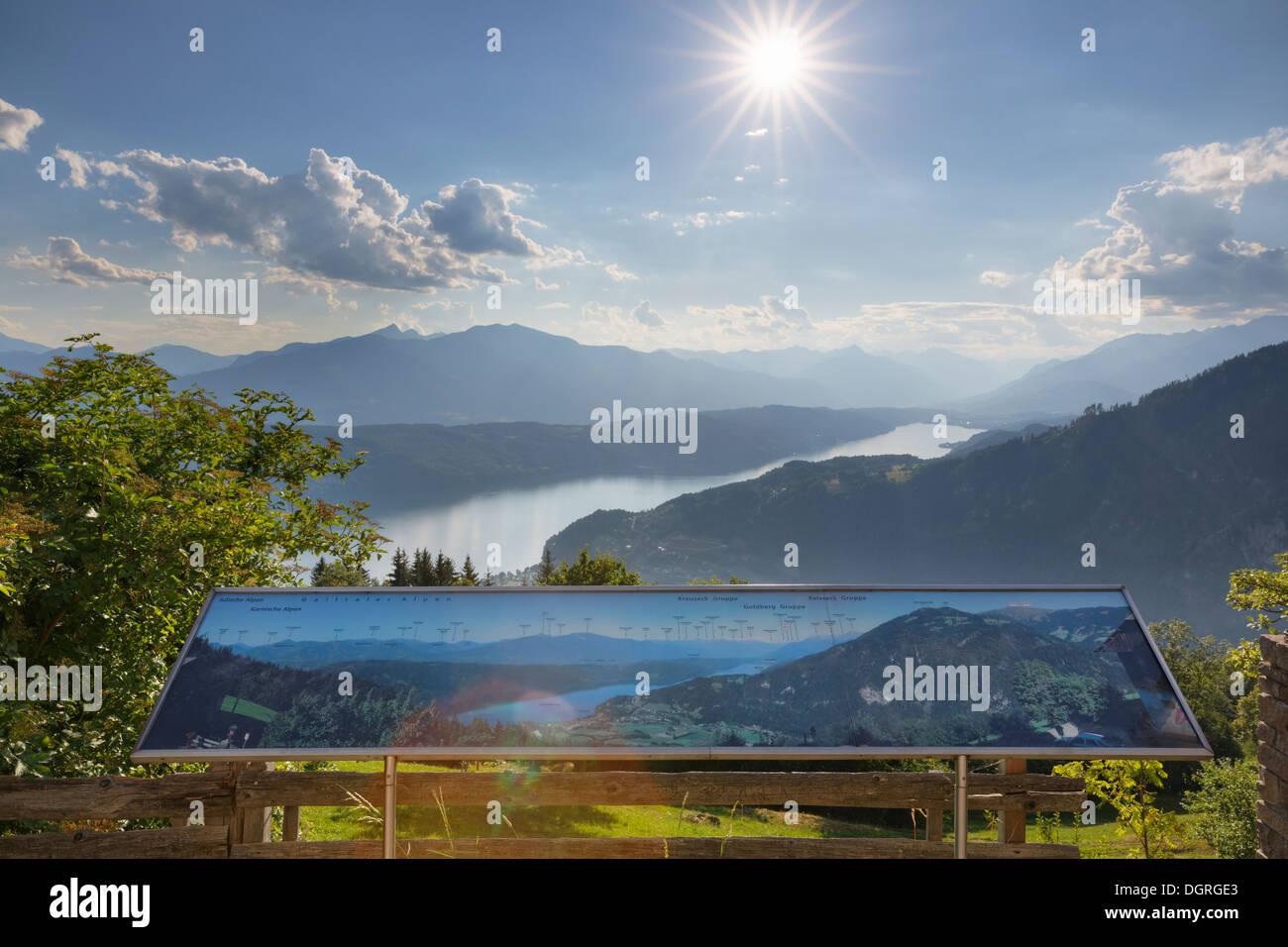Austria, Carinthia, Gschriet, panorama tableau and view to Millstaetter See - Stock Image