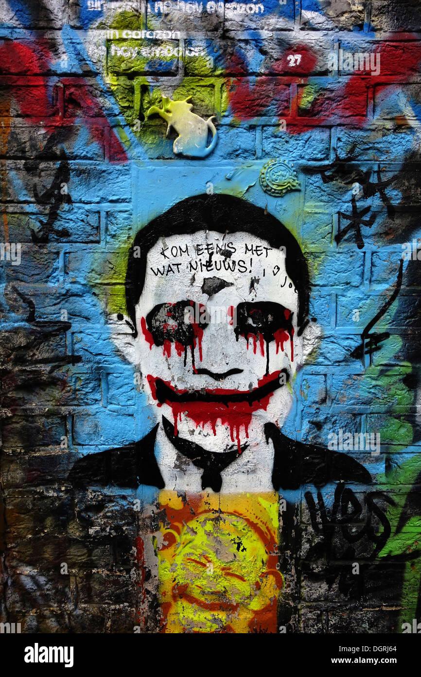 Netherlands Amsterdam Wall Painting The Joker Stock Photo