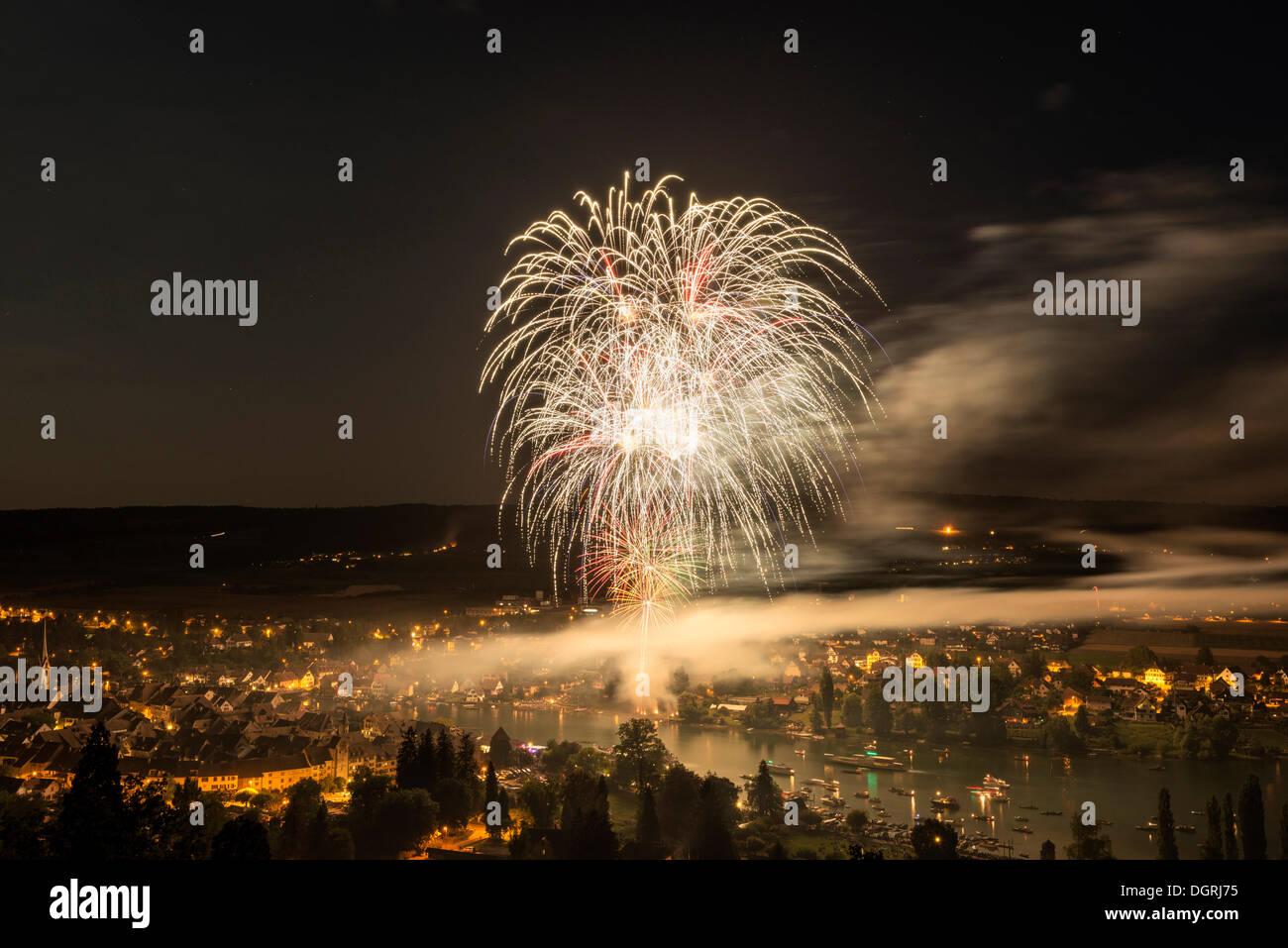 Fireworks over Stein am Rhein, Swiss National Day on 1st August, canton of Schaffhausen, Switzerland, Europe - Stock Image